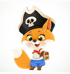 cute cartoon baby fox dressed in pirate costume vector image