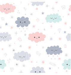 cute seamless pattern with cartoon clouds for vector image
