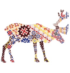 Deer in the patterns of Lapland vector image