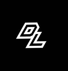 Dl logo monogram with up to down style negative vector