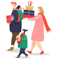 Family carrying presents boxes and cookies as gift vector