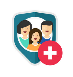 family health insurance shield or medical vector image