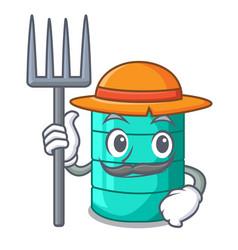 farmer cartoon big industrial water tank container vector image