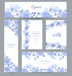 Fashion collection of greeting cards with blue vector