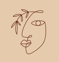 Fashion one line drawing logo women face vector