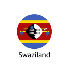 flag of swaziland button with metal frame and vector image
