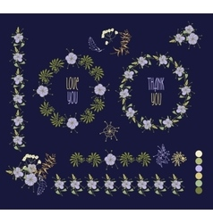 Floral Frame Collection Set of cute retro flowers vector image
