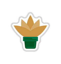 Flower in a pot icon house pot plant in paper vector