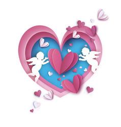 flying cupids - little angels love pink frame vector image