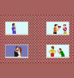 four windows of the apartment people life style vector image
