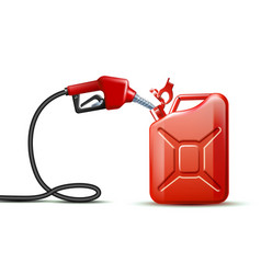 Gas pump nozzle and red jerrycan canister gallon vector