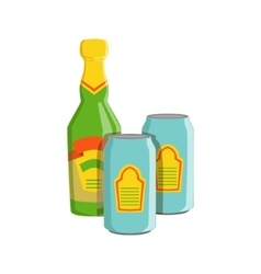 Glass Bottle And Two Tin Cans With Lager Beer vector image