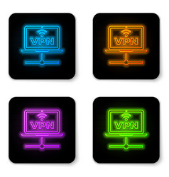 glowing neon vpn computer network icon isolated vector image