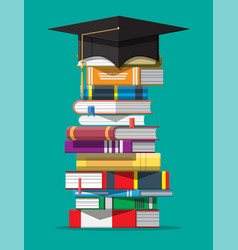 Graduation cap on stack books vector