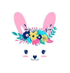 hand drawing print design sweet bunny vector image