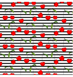 hand drawn cherry pattern vector image