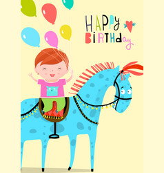 happy birday card with boy riding horse vector image