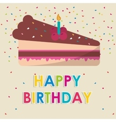 Happy birthday cake candle with confetti vector
