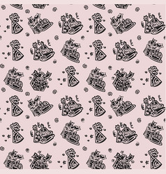 happy birthday hand drawn pattern background with vector image