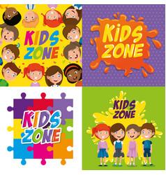 Happy kids zone labels vector