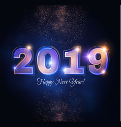 happy new 2019 year elegant shining number vector image