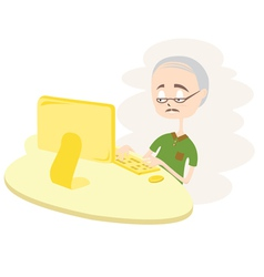 Happy Old Man Using Computer vector image