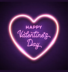 happy valentines day pink lettering inscription vector image