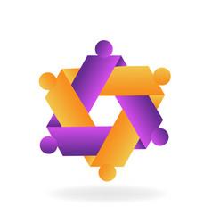 hexagon abstract teamwork icon vector image
