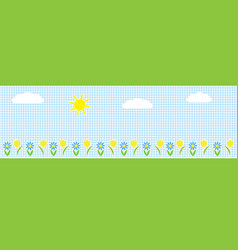 horizontal background with sunclouds and flowers vector image