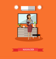hotel manager concept in flat vector image