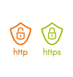 http and https on shields linear vector image
