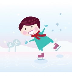 ice skating boy vector image