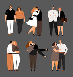 in love couples plus size women and men vector image