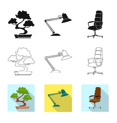 isolated object of furniture and work sign set of vector image