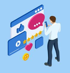 isometric businessman character communication vector image