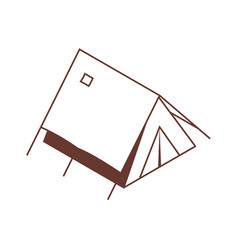 Isometric tent icon in line art vector