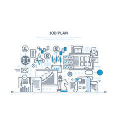 Job plan time management business strategy vector