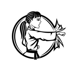 karate woman sports sign vector image
