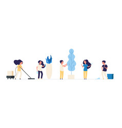 kids cleaning children cleaners housework vector image