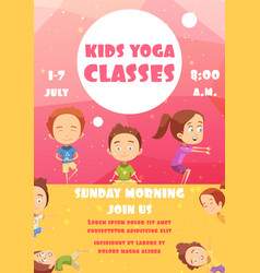 Kids yoga classes advertising poster vector