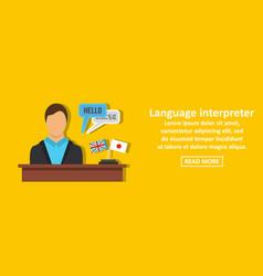Language interpreter banner horizontal concept vector