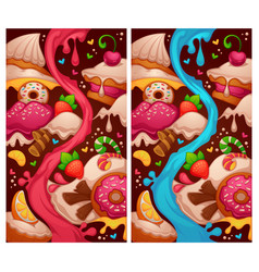 little cakes shop two variations level map vector image