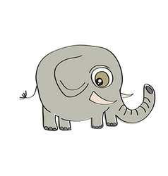 little cute elephant isolated on white background vector image