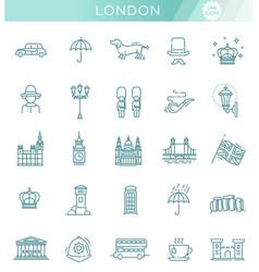 London icons set england thin line design vector