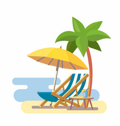 Lounge on beach under a palm tree vector