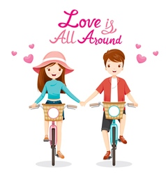 Man And Woman Riding Bicycle Clasping Hands vector