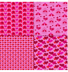 mod valentines day patterns on pink with animals vector image