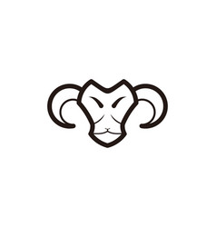 mono line sheep goat head logo vector image