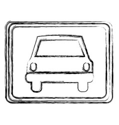 Monochrome sketch with automobile front view in vector