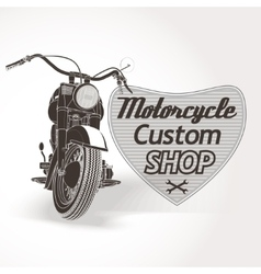 Motorcycle custom motor shop emblem vector